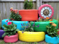 Old tire planters 200x150 From Salvaged Junk to Stunning Décor: DIY Projects that Make a Difference!