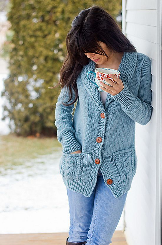 Oversized Cardigan with Cable Detailing