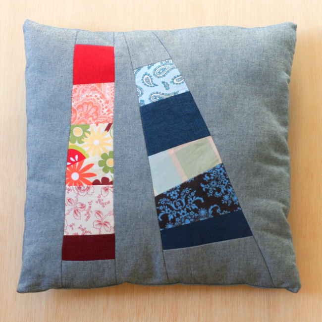 Patchwork Denim Pillow