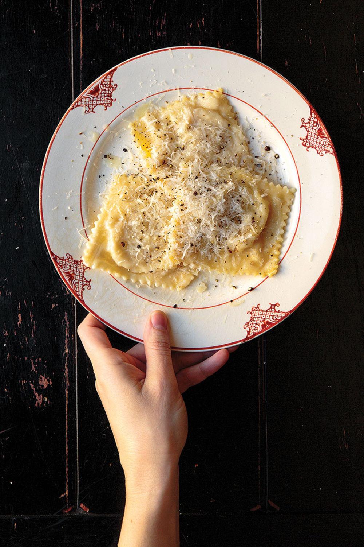 Pear and cheese ravioli
