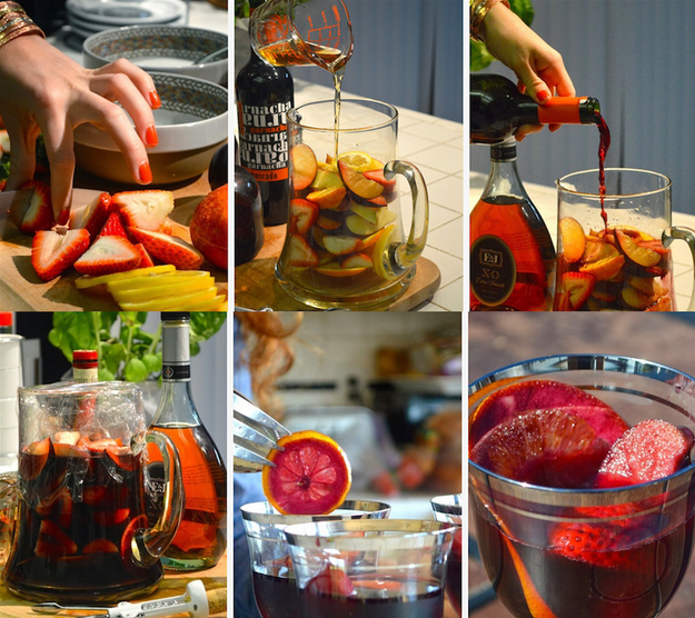 Sangria sparkler with wine, brandy, and orange liqueur