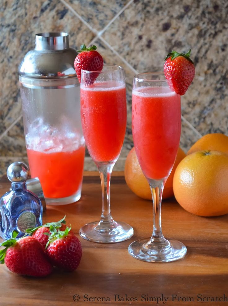 Strawberry grapefruit mimosas
