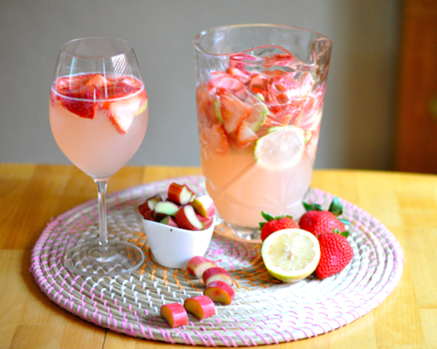 Strawberry sangria with rhubarb infused syrup