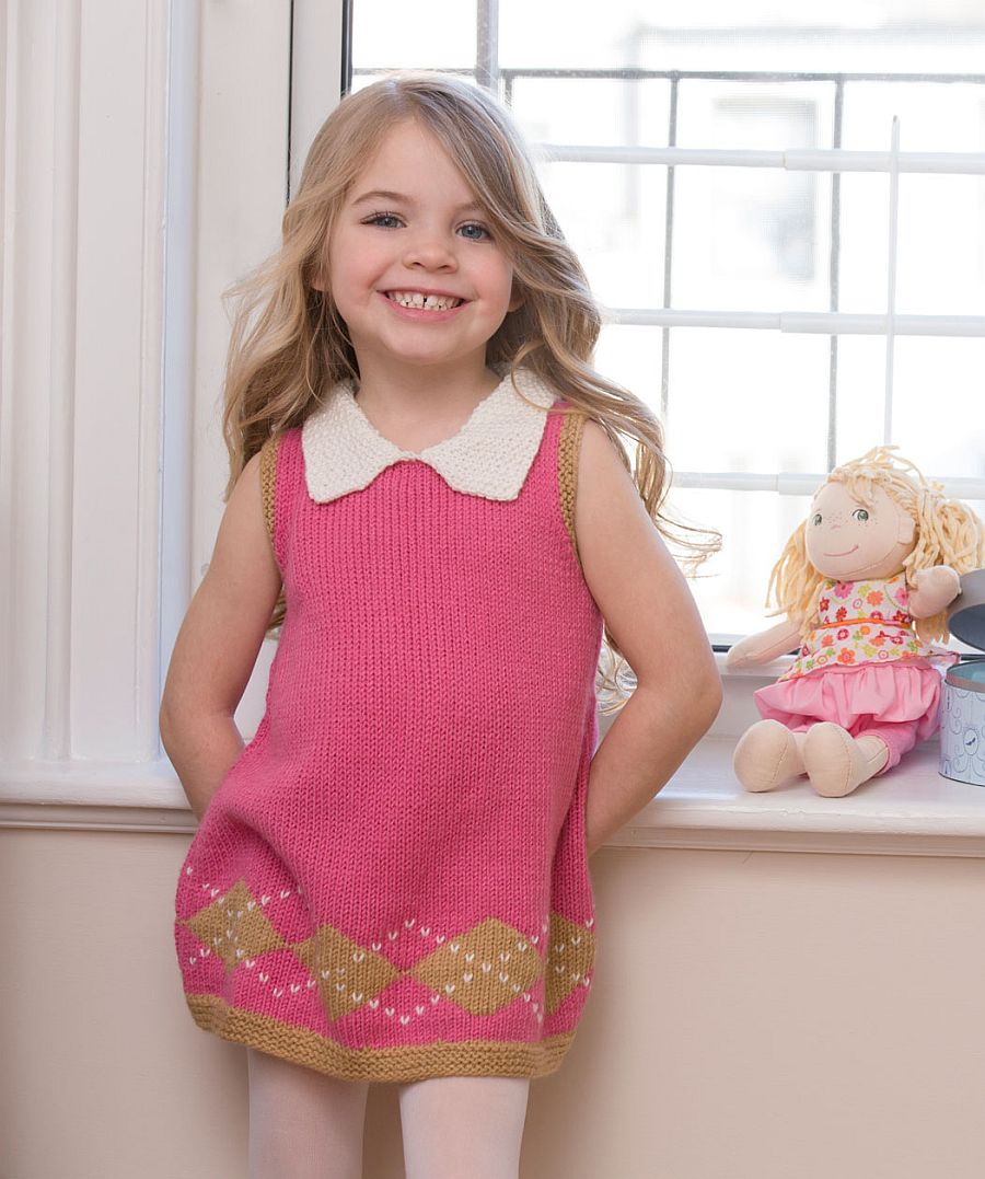 Sweet Argyle Knit Dress in pink