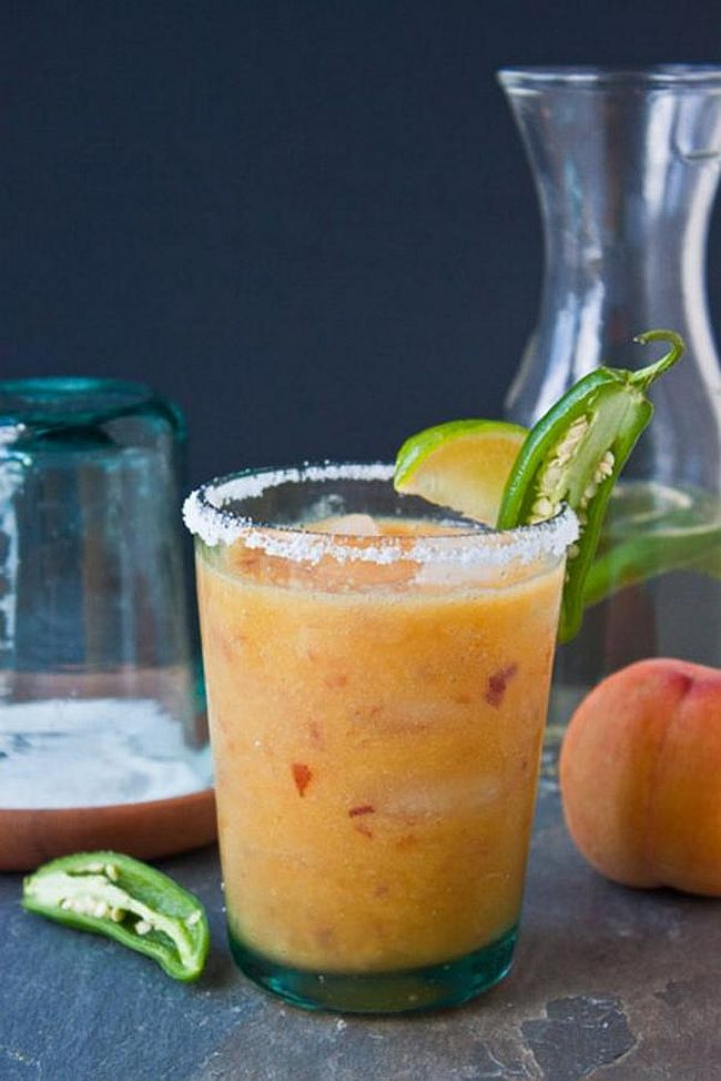 Sweet and spicy Peach jalapeno margaritas