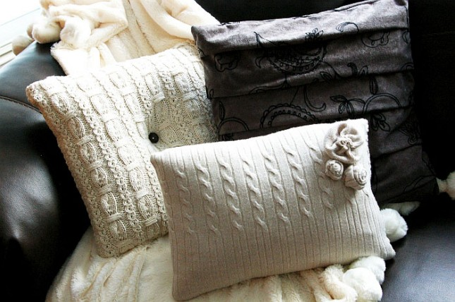 Upcycled sweater pillow case