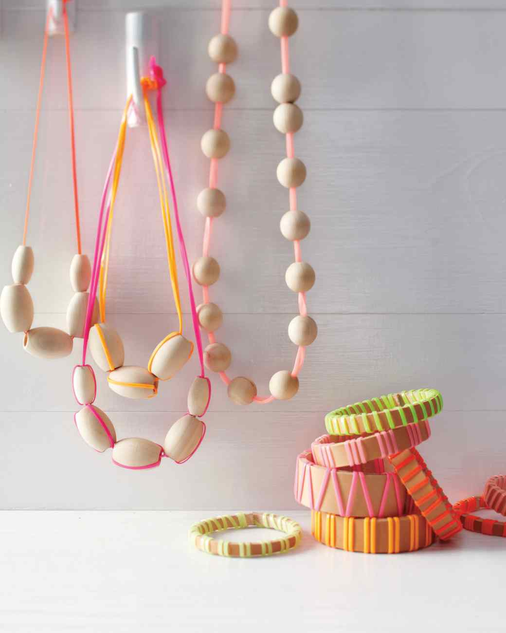 Wood and neon necklaces