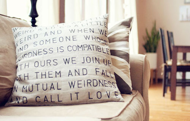 Word stencil pillow cases
