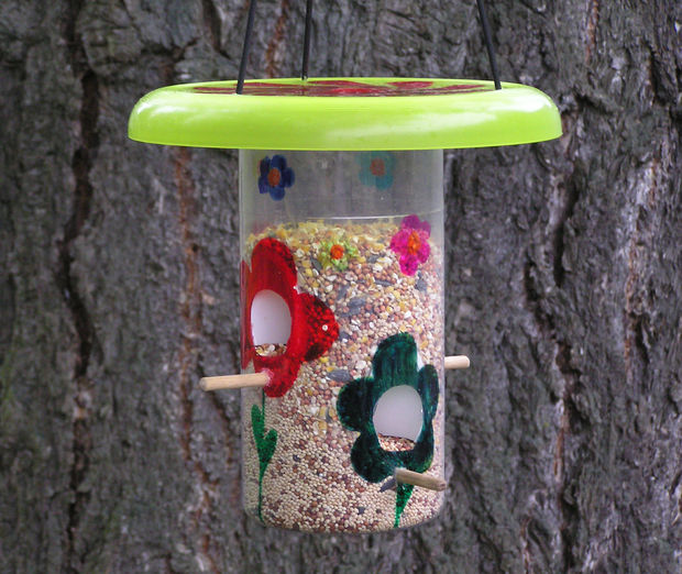 plastic bird feeder