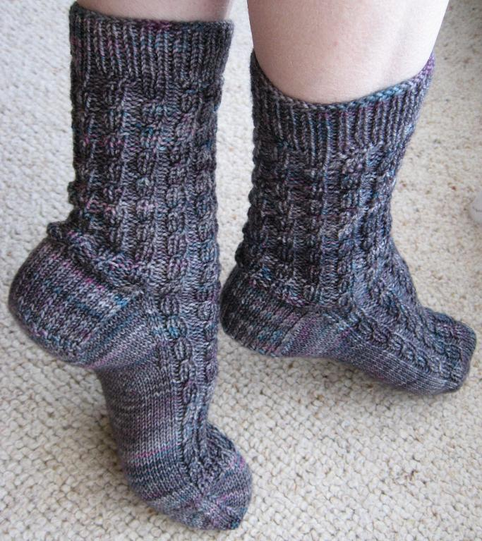 ribbed faux cable socks