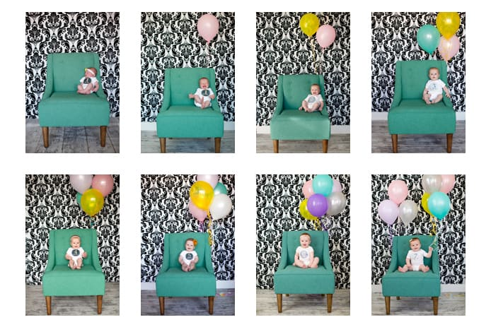 A patterned wall and balloons