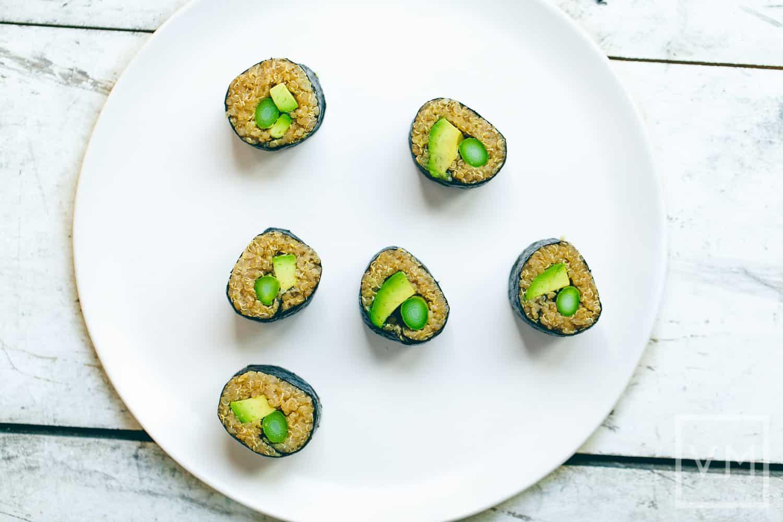 Asparagus quinoa sushi rolls