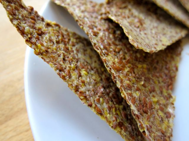 Avocado and golden flax crackers
