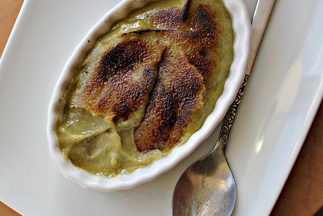 Avocado pistachio creme broulet