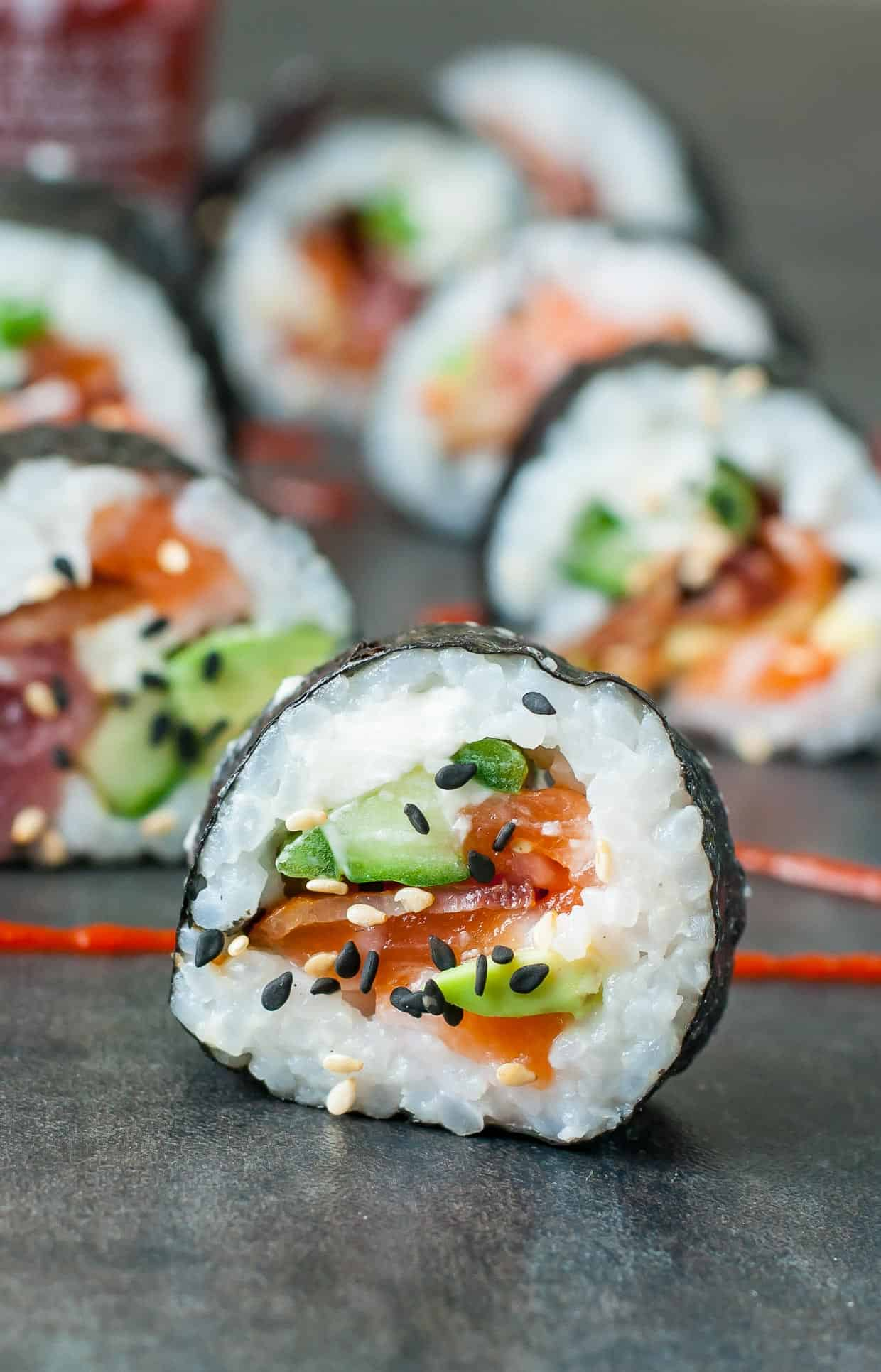 Bacon avocado sushi
