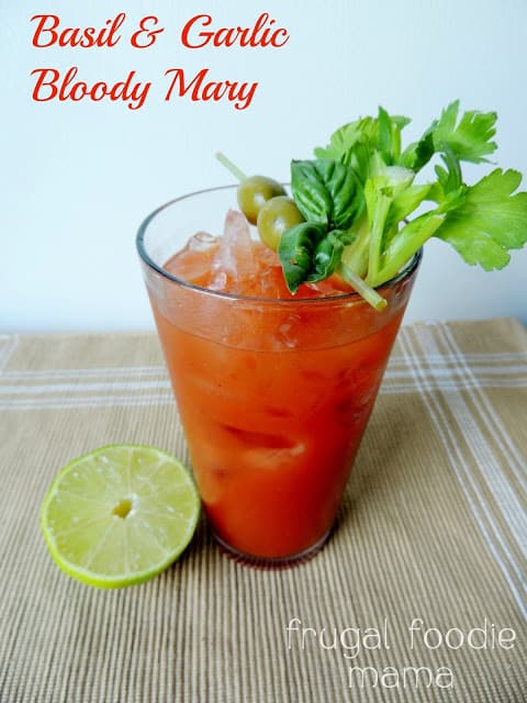 Basil and garlic bloody Mary