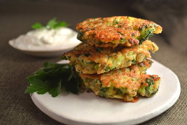 Broccoli, cheddar, and jalapeno quinoa fritters