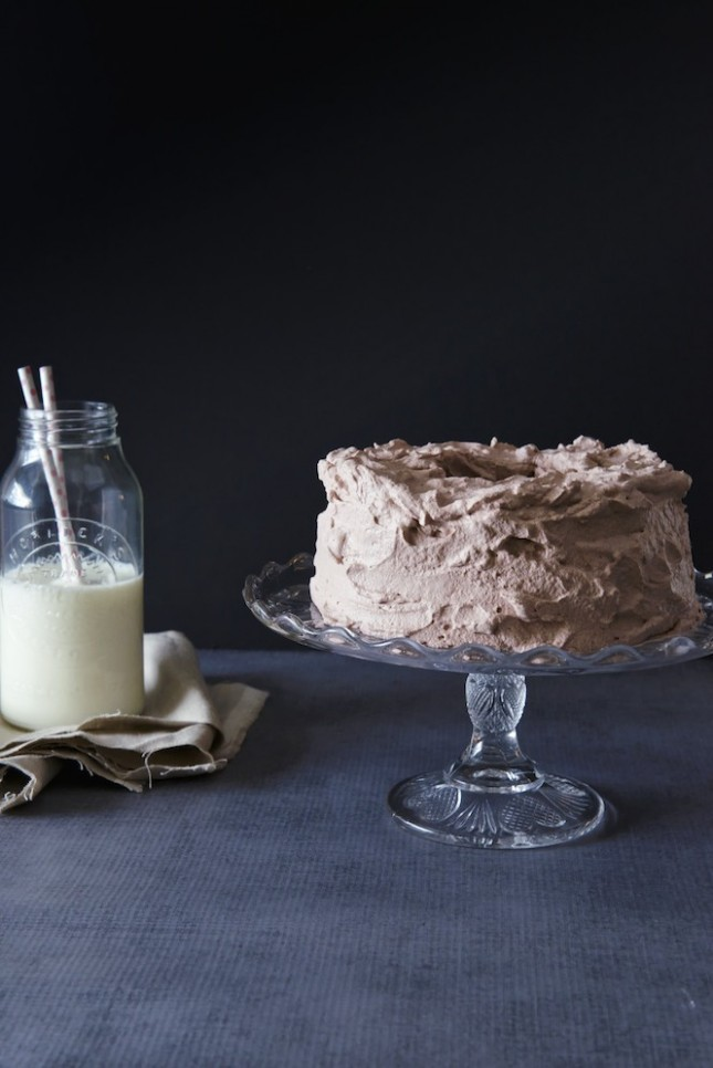 Chocolate angel food cake with chocolate whipped cream