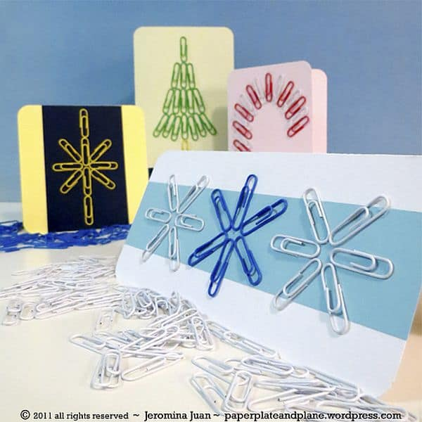 Colorful Paper Clip Christmas Cards