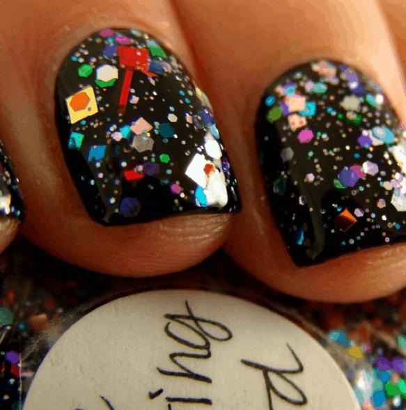 Confetti glitter on black