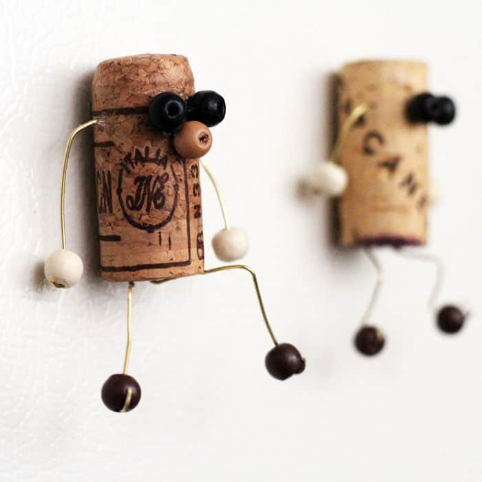 Cork magnets with bead features