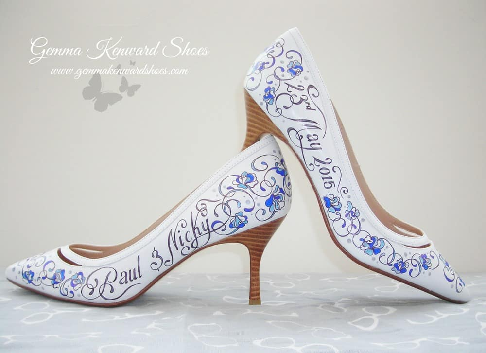 Custom painted wedding pumps