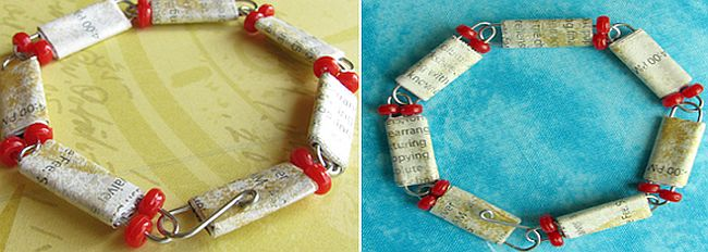 DIY Paper clip chain bracelet with paper beads