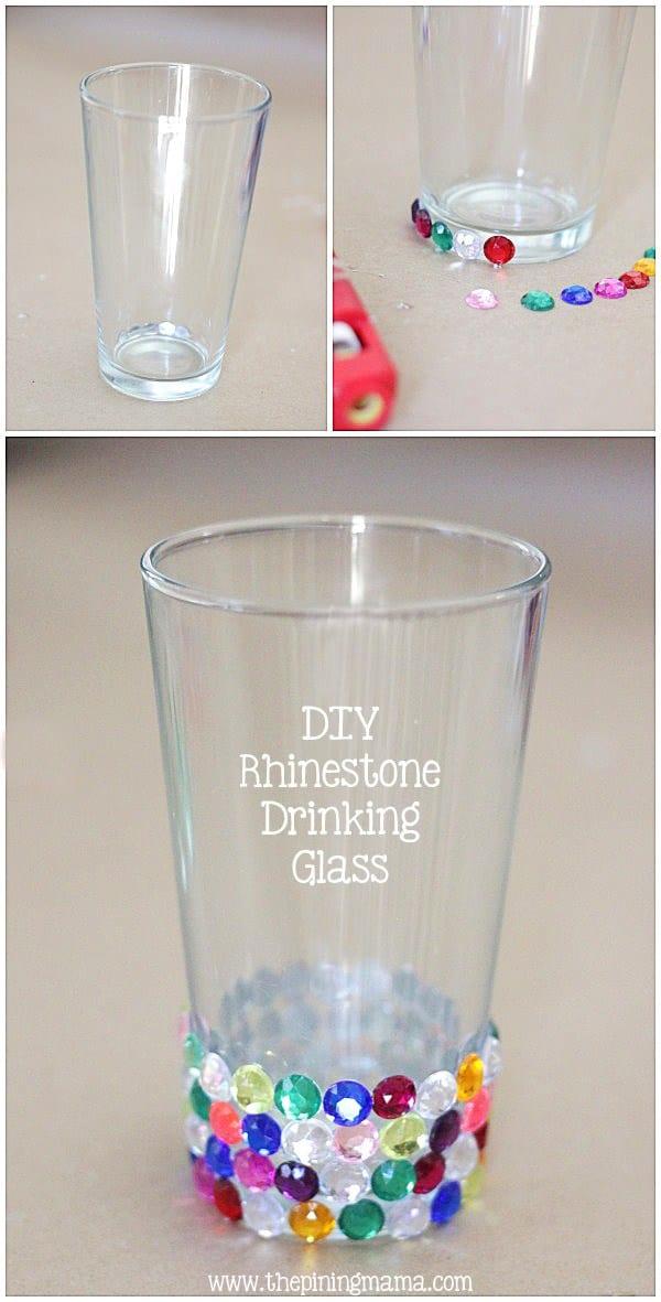 DIY rhinestoned drinking glass
