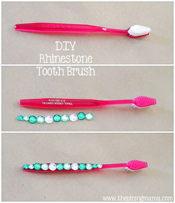 DIY rhinestoned toothbrush