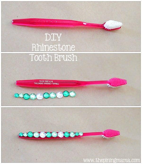 DIY rhinestoned toothbrush