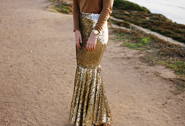 Flared sequinned skirt