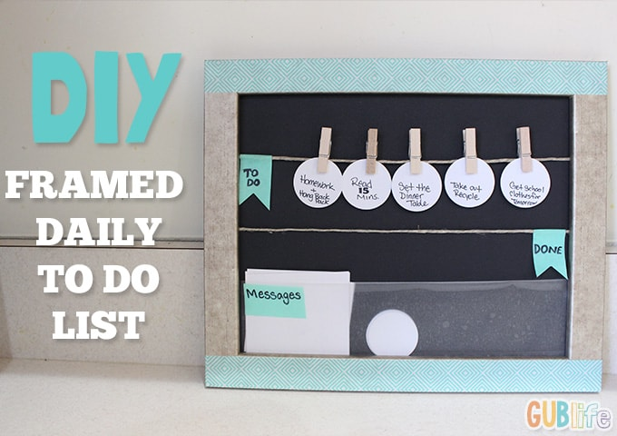 Framed clothes pin to do list and message board