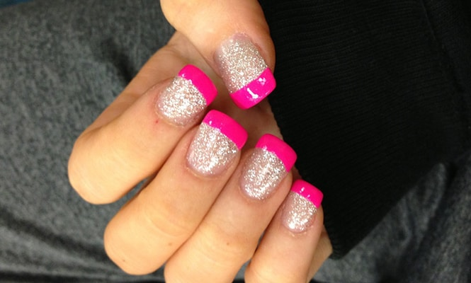 Full glitter with pink tips