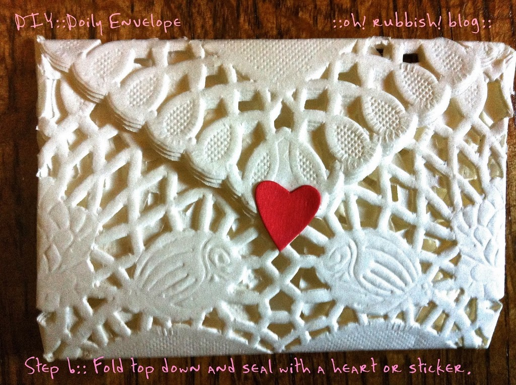 Heart doily envelopes