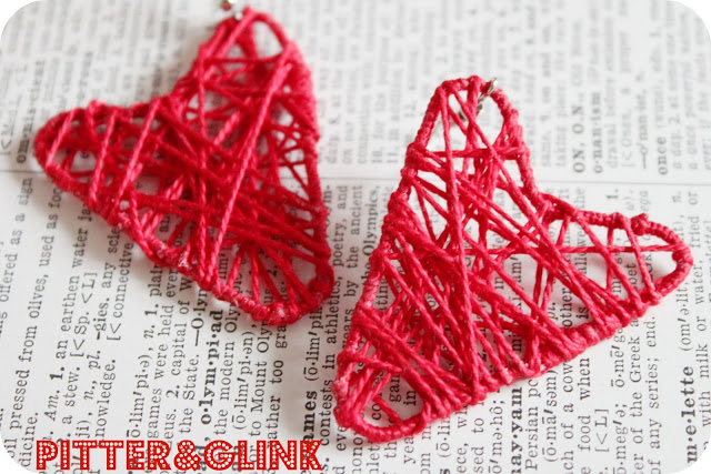 Heart-shaped paper clip earrings