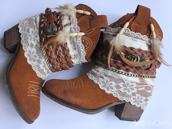 Lace boho boots