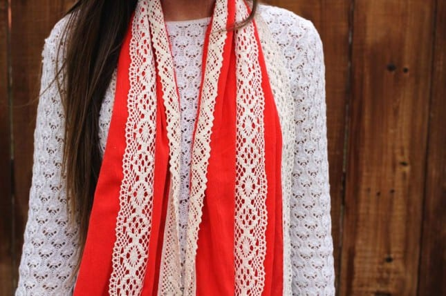 Lace-edged scarf