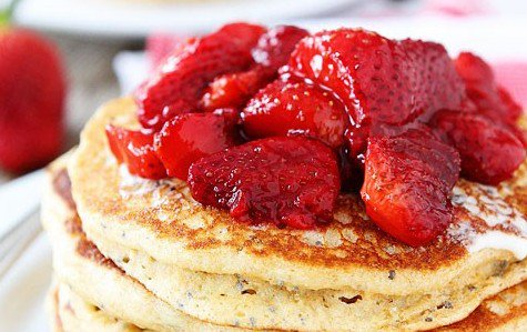 Lemon chia seed pancakes with roasted strawberries