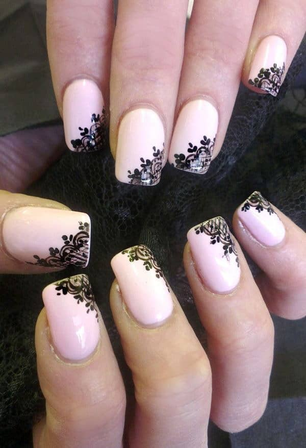 Light pink with black lace decals