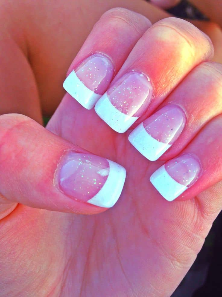 Lightly sparkling French manicure