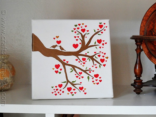 Love bird in a heart tree