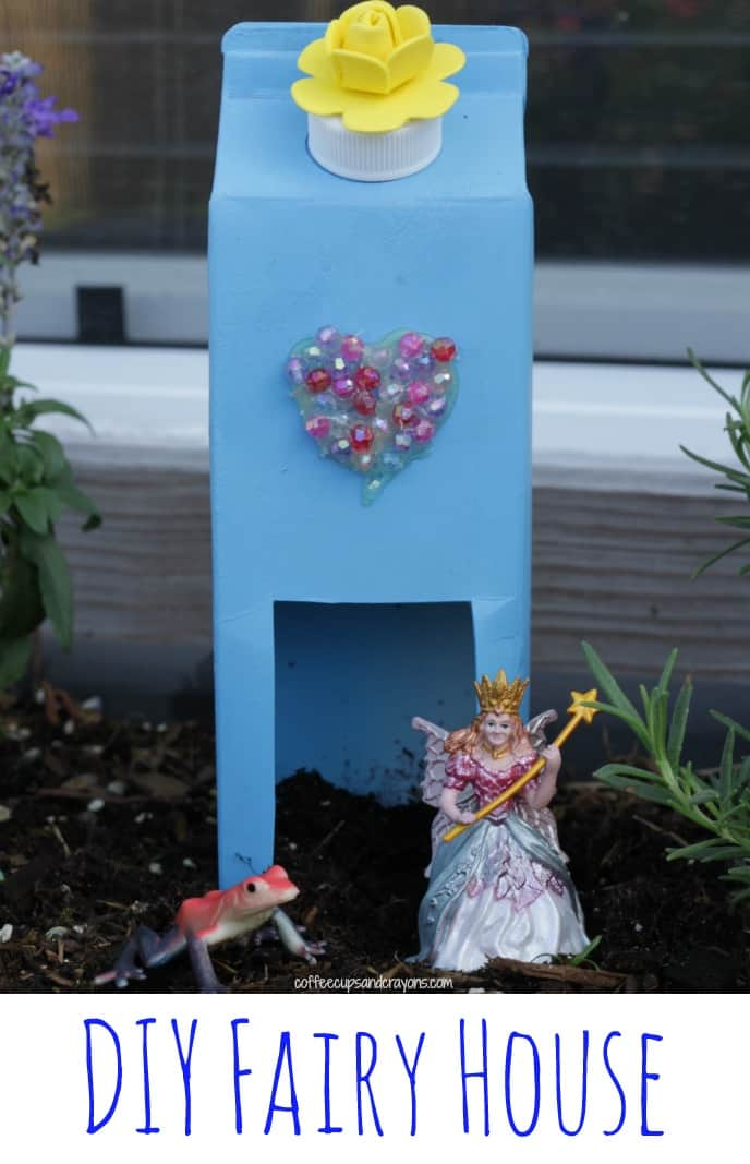 Milk carton fairy houses