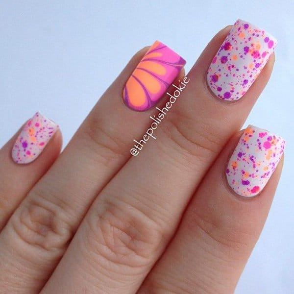 Neon pink and orange with water marbling