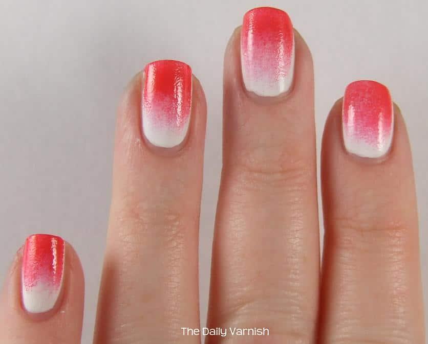 Neon pink to white sponge gradient