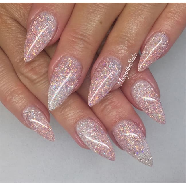 Opalescent glitter stiletto nails