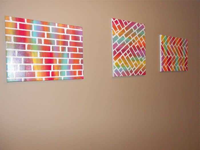 "Painted ""brick"" canvas art"