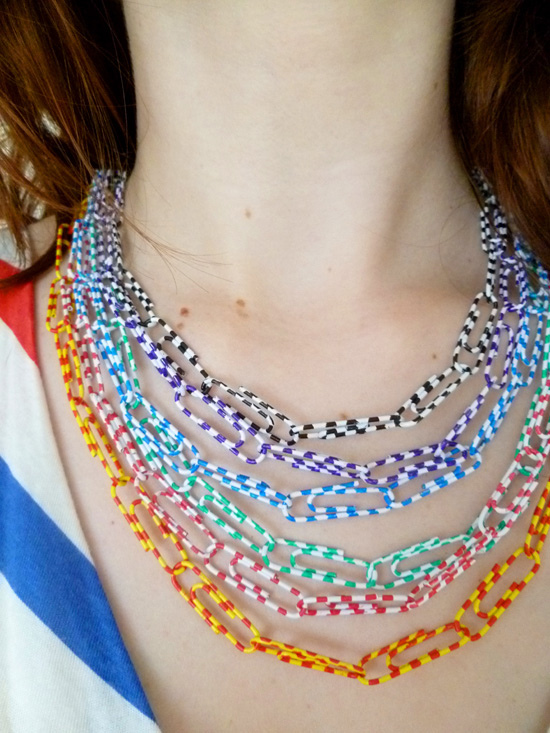 Paper clip chain necklace