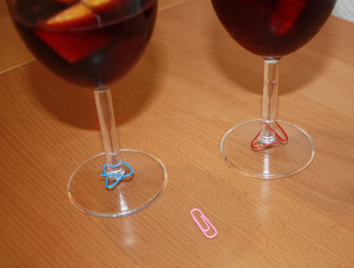 Paper clip wine glass markers