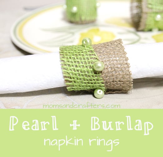 Pearl bead and burlap napkin rings
