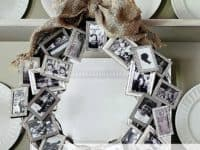 Picture frame memory wreath 200x150 Click Away: 15 Awesome Crafts For Polaroid Enthusiasts!